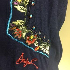 Desigual Tops - Desigual Navy/Embroidery/Appliqué/Cotton Top XL
